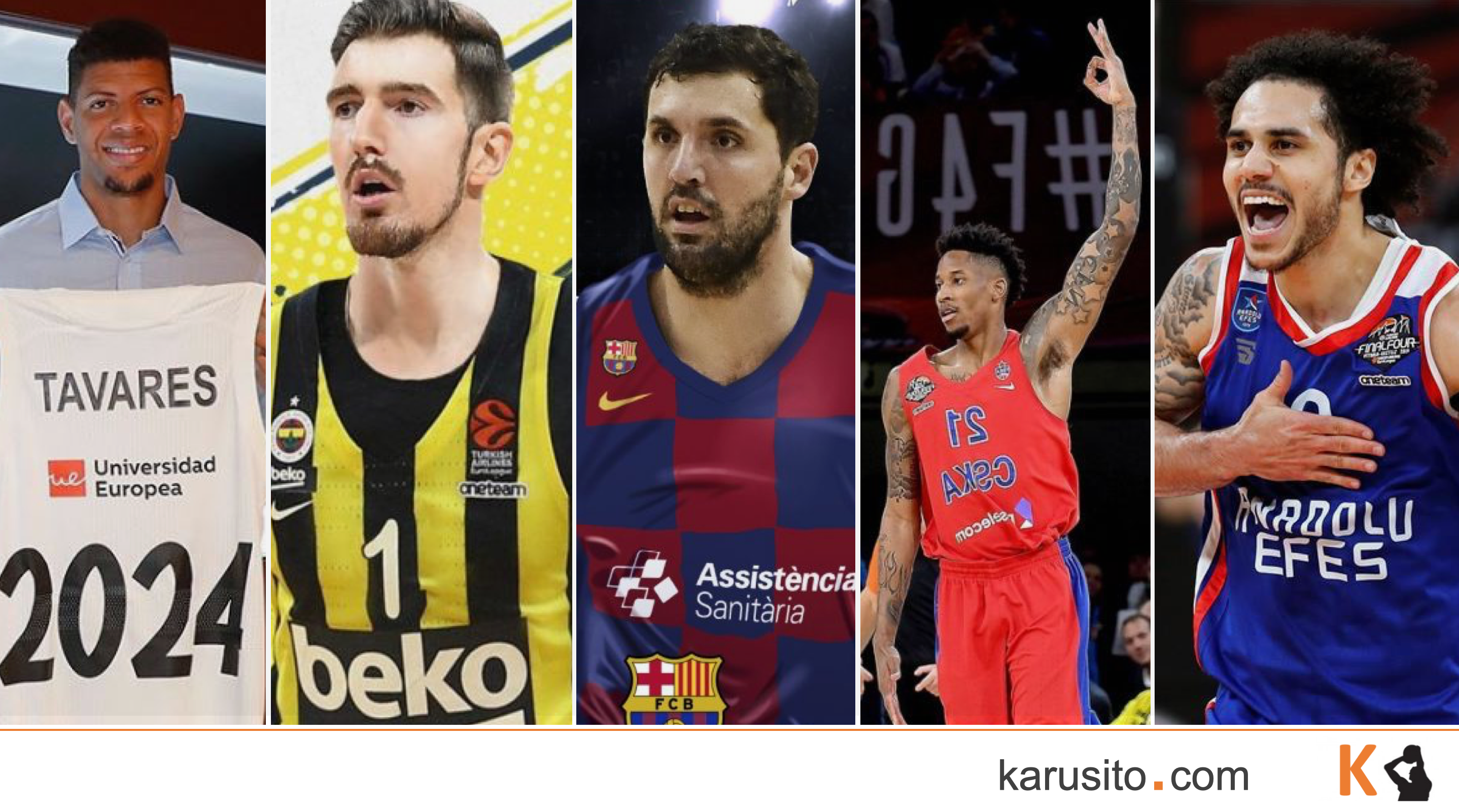 Mirotic (Barcelona), tavares (Madrid), De Colo (Fenerbahce), Clyburn (CSKA) y larkin (Efes)